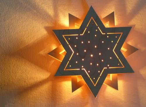 Star Shadow Light Illuminated Wood Star Mood