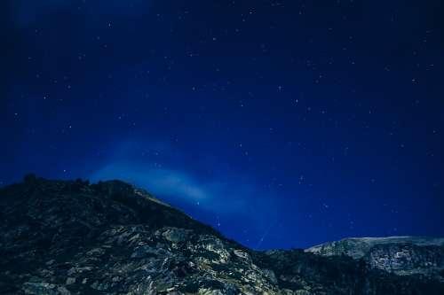Starry Night Starry Sky Mountains Night Sky Starry