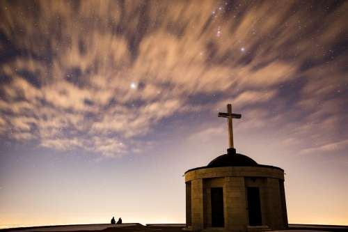 Starry Sky Church Chapel Cross Christian Sky