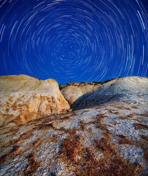 Startrails Rocks Night Long Exposure Sky Dark