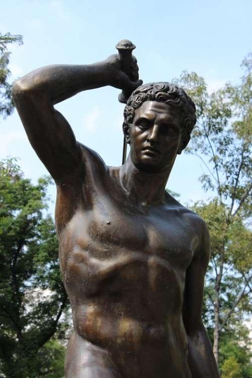 Statue Naked Sculpture Park Monument Man Source