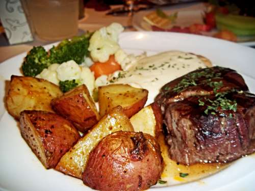 Steak Potatoes Food Cuisine Dish Sirloin Meal