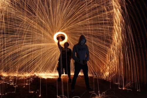 Steelwool Firespin Art People Dark Night Style