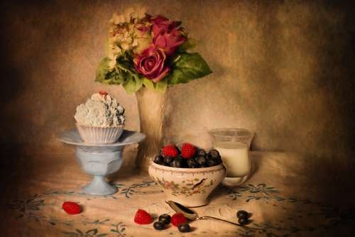 Still-Life Blueberries And Cream Table Setting