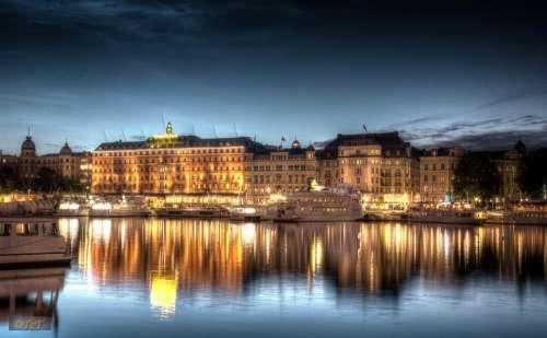 Stockholm Night Shot Night Hdr