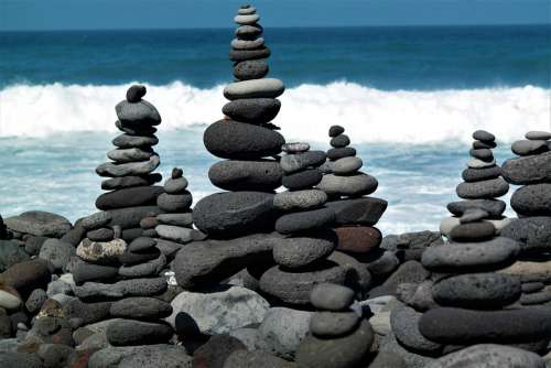 Stone Tower Beach Water Ocean Balance Meditation