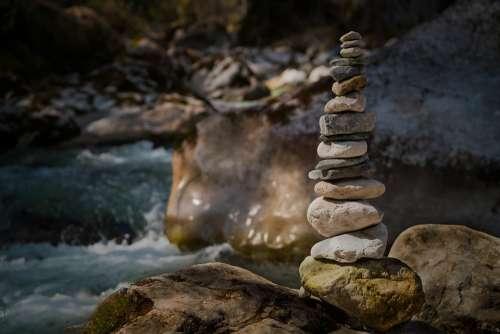 Stones Nature Cairn Balance Zen Meditation
