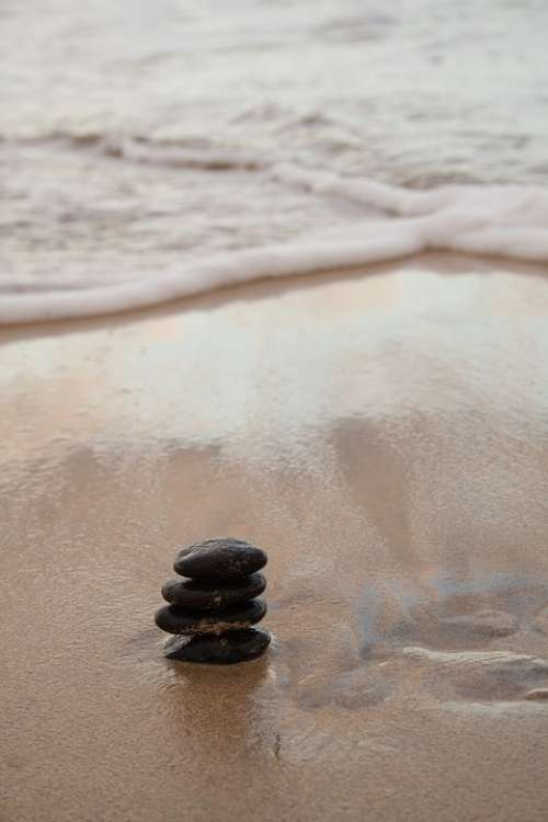 Stones Harmony Sea Beach Wave Wellness Meditation