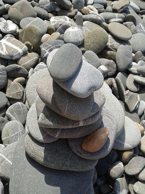 Stones Beach Pebble Sand Gravel Balance Zen