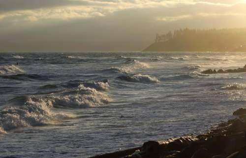 Storm Ocean Point Holmes Comox British Columbia