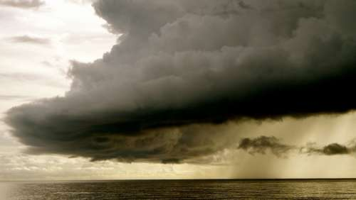Storm Clouds Sky Water Ocean Horizon Dramatic