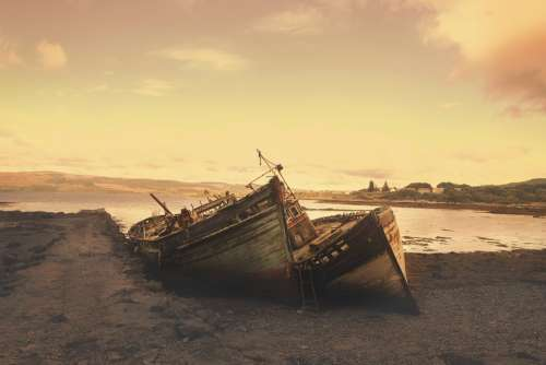 Stranded Ships Wrecks Abandoned Aground Beach