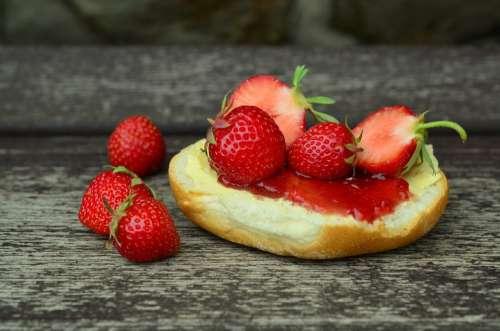 Strawberries Strawberry Jam Jam Sandwich Sweet Eat