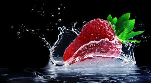 Strawberry Water Splashes Splash Drop Of Water