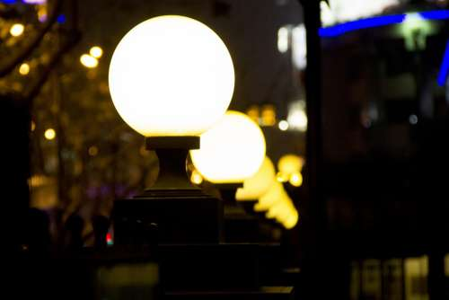 Street Lamp Night View Street View Evening