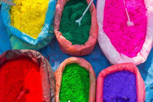 Street Market Colorful Colors Powder Nepal Holy