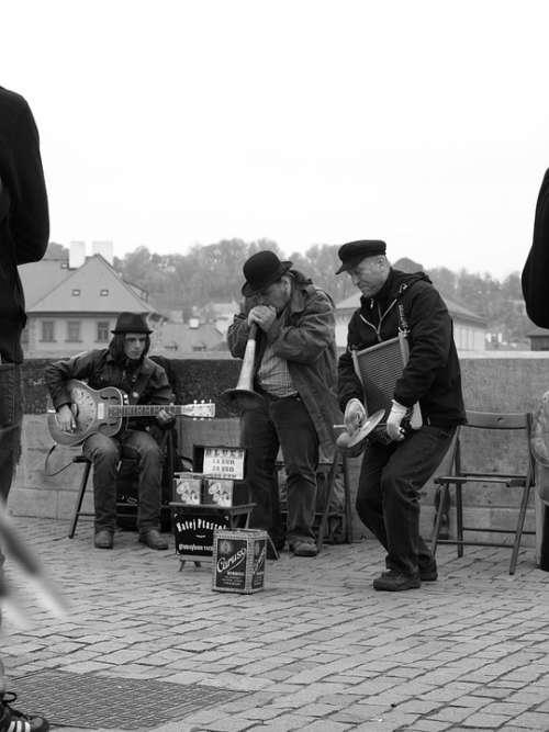 Street Musicians Prague Charles Bridge Men