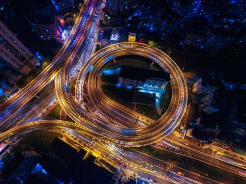 Streets Night Lights Circle Highways Top View