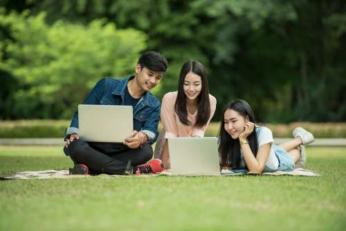 Students Adult Asia Computer Friend Friendship