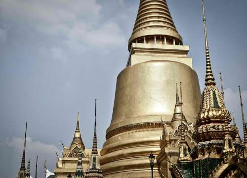 Stupa Gold Temple Buddhism Thailand Wat Asia