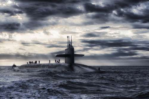 Submarine Boat Sea Ocean Water Sky Clouds