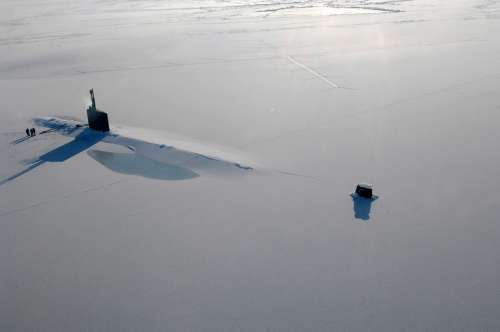 Submarine Surfaced Ice Arctic Navy Frozen Boat