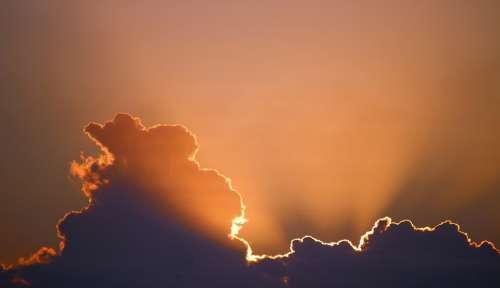 Sun Sky Clouds Dark Cloud Sunset Glowing Orange
