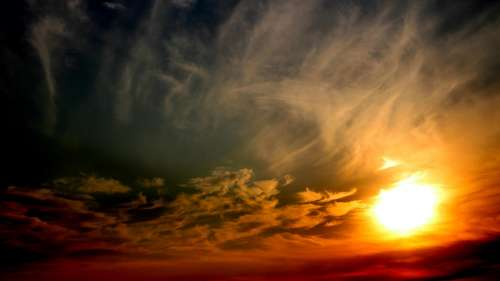 Sun Sunset Sky Cloud Red Weather Atmosphere