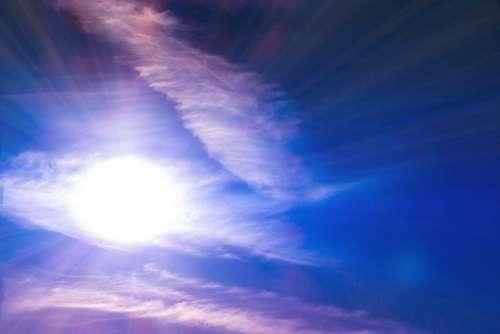 Sun Sunbeam Sky Clouds Light Summer Morning Rays