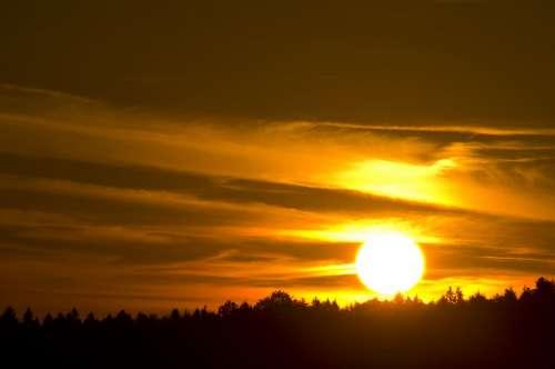 Sun Sunset Sky Landscape Summer Rural Nature
