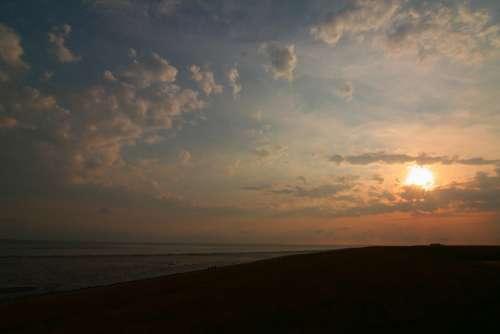 Sun Sea Sunset Beach Water Sky Summer Dusk