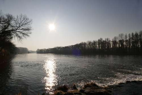 Sun In The Morning Water River The Sky Horizon