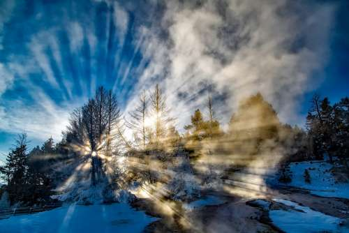 Sun Rays Sun Beams Yellowstone National Park