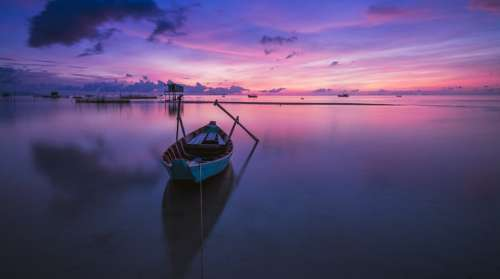 Sunrise Boat Rowing Boat Nobody Calm Tranquil