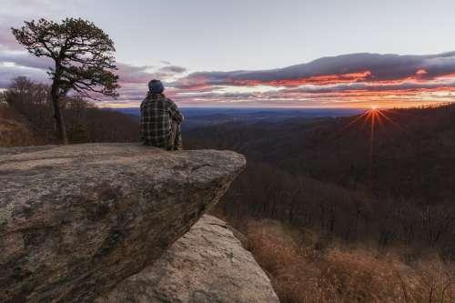 Sunrise Dawn Morning Hiker Trekking Cliff
