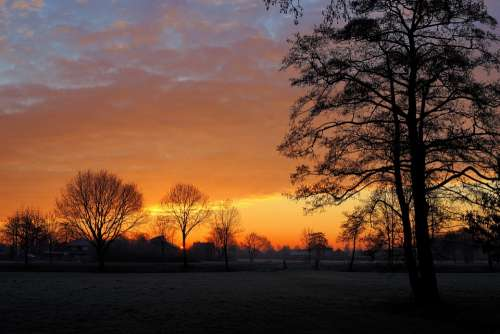 Sunrise Winter Cold Landscape Nature Sky Trees