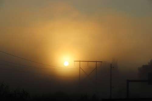 Sunrise Sunset Sun Fog Power Line Mystical