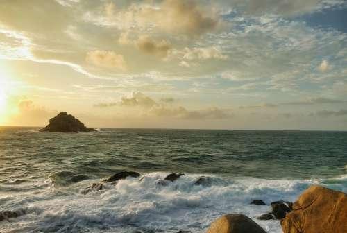Sunrise Sea Blue Water Ocean Rest Clouds Coast