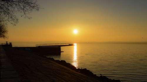 Sunrise Lake Bridge Water Landscape Reflection