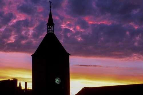 Sunrise Church Steeple Sky Clouds Morgenstimmung
