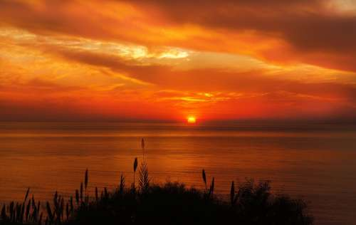 Sunset Sunrise Sun Summer Sky Landscape Ocean