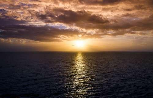 Sunset Sunrise Ocean Sea Sky Sun Nature Water