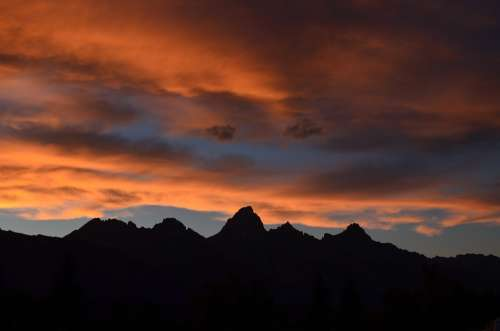 Mountain Orange Red Cloud Sunlight Sunset