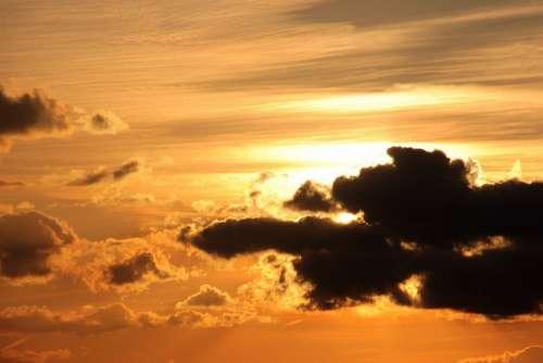 Sunset Sun Clouds Dark Clouds Bright Cloud