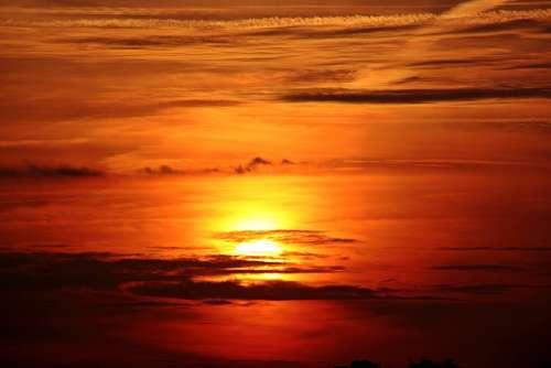Sunset Sun Clouds Dark Clouds Abendstimmung Sky