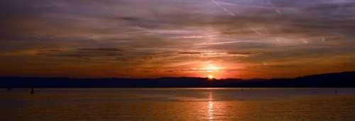 Sunset Sky Clouds Abendstimmung Afterglow