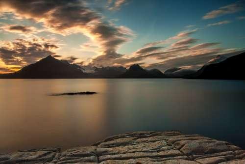 Sunset Clouds Lake Rest Sunny Twilight Meditation