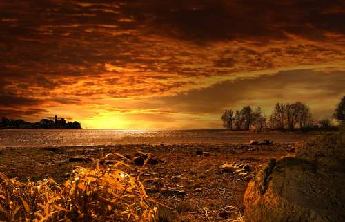Sunset Landscape Nature Background Of Course Mood