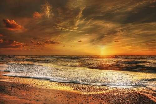 Sunset North Sea Sea Abendstimmung Beach Coast