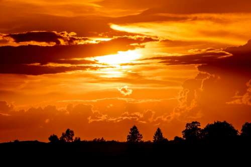 Sunset Setting Sun Evening Sky Sun Abendstimmung